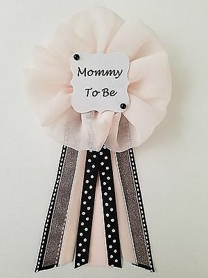 Black and Pink Blush Polka Dot Mommy to Be Bride to Be Baby/Bridal Shower Pin