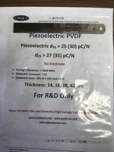 Polyvinylidene Fluoride PVDF Piezoelectric Film, 3 um to 1000 um, Made in USA
