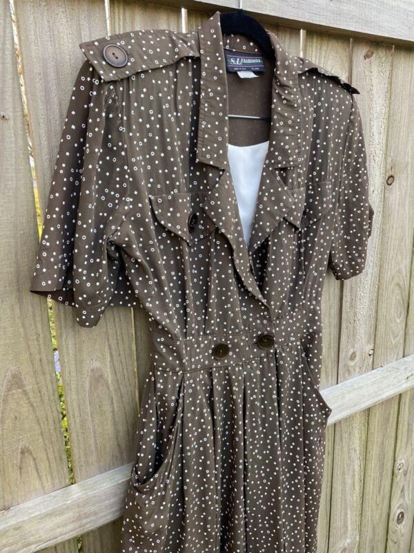 Women's Vtg 80's  Brown Romper Jumpsuit  Size Small S. L. Fashions  Polka Dot