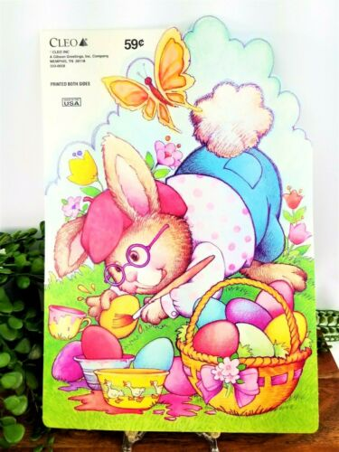 Vintage CLEO Die Cut Bunny Painting Easter Eggs Wall Window Decor Unpunched NOS