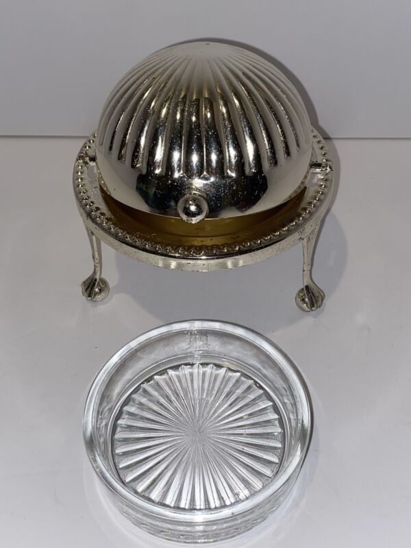 3 Footed Caviar / Butter Server. Silver Plated, Made In England