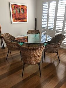 Glass  Octagonal dining table and chairs Drummoyne Canada Bay Area Preview