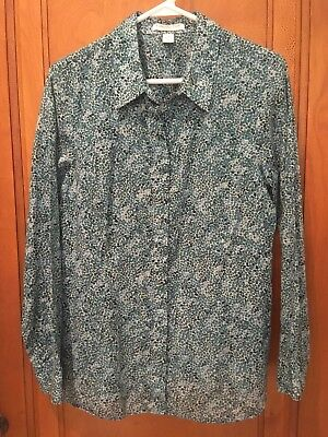Colwater Creek Women's Lightweight Longsleeve Blue Pebble Shirt Size L (Creek Pebbles)