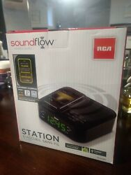 RCA Dual Alarm Clock FM Radio Stereo Soundflow Wireless Technology USB Charger