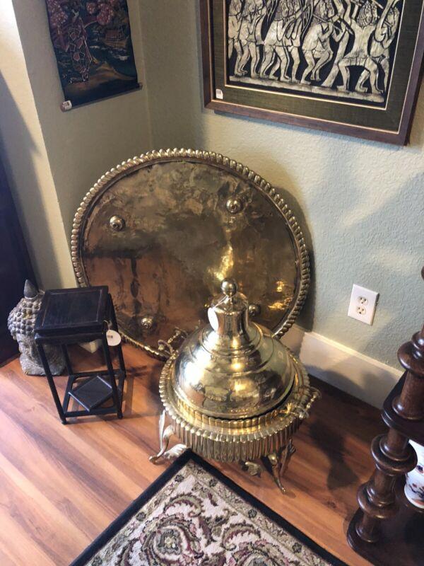 Turkish/Mongolian Barbecue Brass Four Piece Set Large Vintage Rare