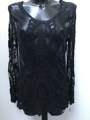 TOP IN BLACK LACE BY JAYLEY ONE SIZE (UP TO UK 14)