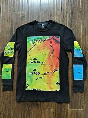 Hood By Air Longsleeve Shirt Map All-over Men's Small Black