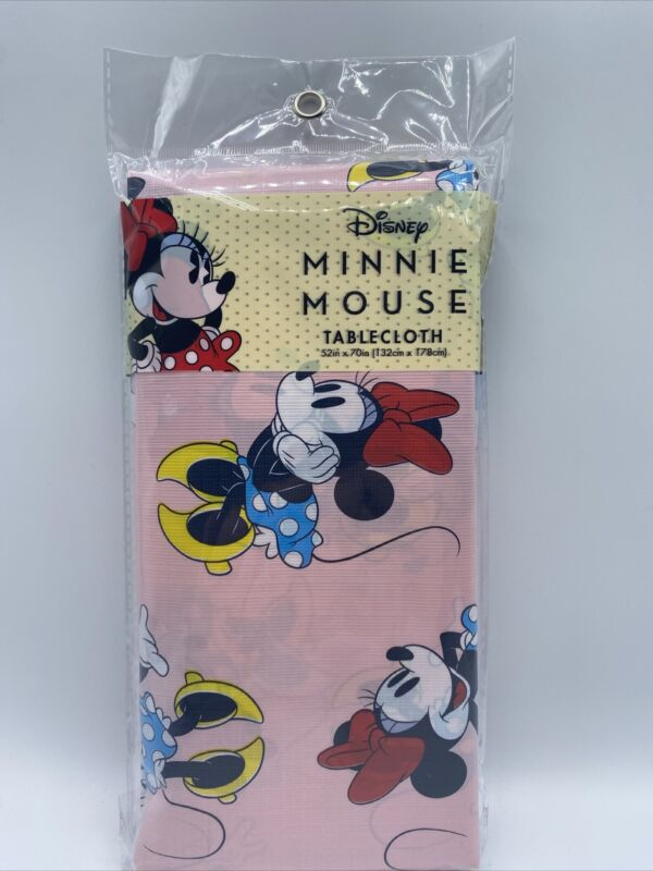 Minnie Mouse Plastic Tablecloth 52 x 70 in Pink Table Cover Disney!
