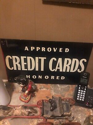 Antique Gas and oil enamel sign approved credit cards accepted pickers