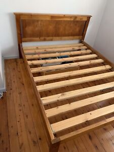 Queen size timber bed and mattress