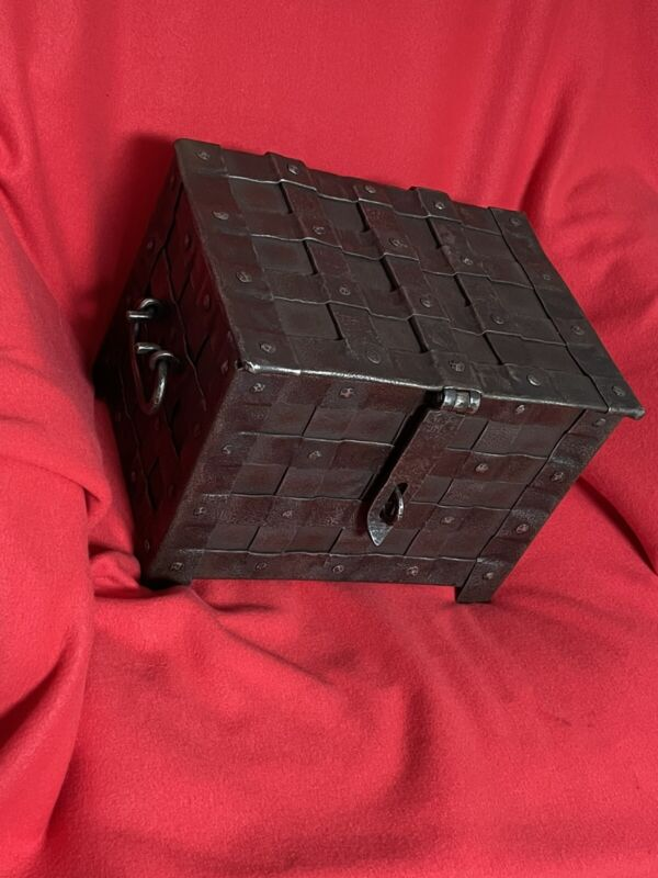 16.th Century gothic War Cash Box , medieval Iron Casket