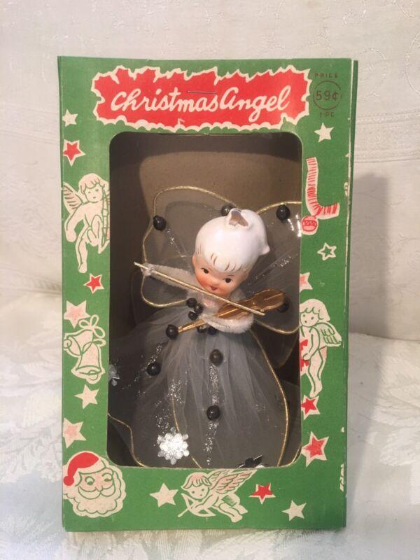 Vtg Christmas Angel Topper Porcelain Head Tulle NOS In Box Japan