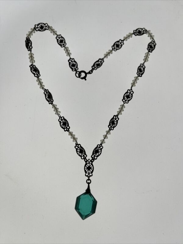 Antique Victorian INCREDIBLE Green Clear Crystal Necklace