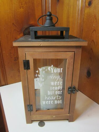 Memorial Memory LED Flickering Candle Lantern Wood Metal Glass Etched Butterfly