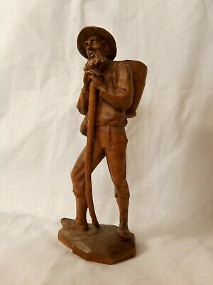 Vintage Carved Wooden Figure Man Travelling Basket Walker Staff 16 cm Tall