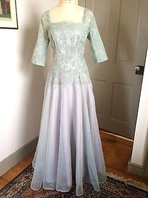 Vintage 1950s Aqua Frank Starr Evening, Mother Of Bride Or Wedding Dress