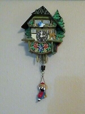 Vintage German Wind Up Wall Clock Bluebird Cuckoo Swinging Girl - Not Working