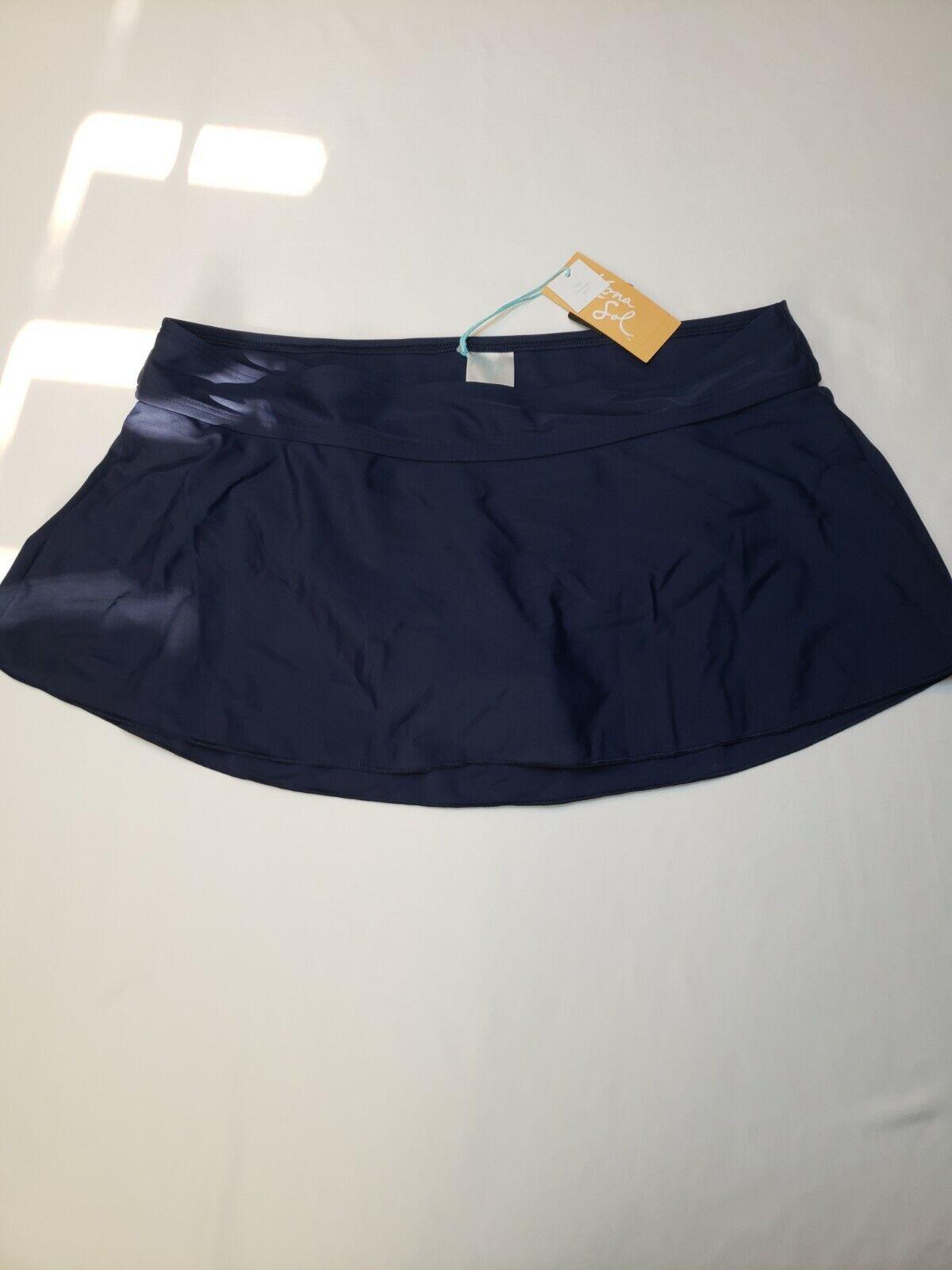 Kona Sol Navy Blue High Coverage Swim Skirt Size L Built In Liner Comfortable - $13.99