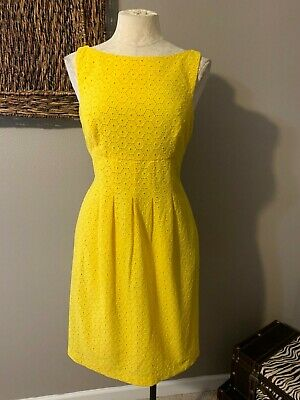 Ralph Lauren All Cotton Daffodil Yellow Lace Sheath Dress 8