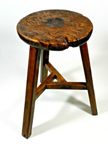 Primitive Antique Rustic Wood Stool