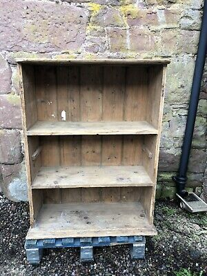 Vintage Distressed Pine Bookcase Shelf Unit