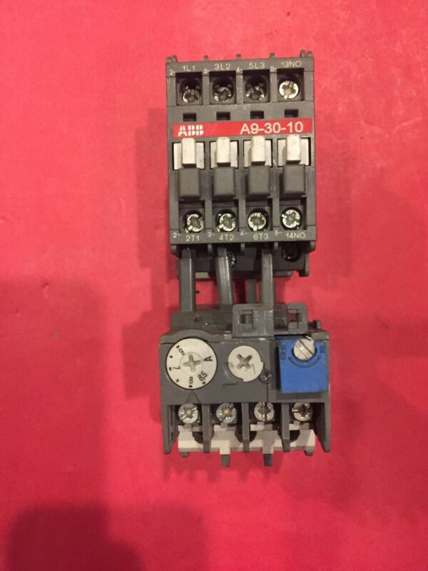 ABB A9-30-10 MOTOR STARTER CONT WITH TA25 ADJUSTABLE OVERLOAD 6-8.5 amp 110 VAC