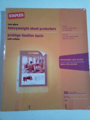 Staples Heavy Weight Sheet Protectors 8.5 X 11 Us Letter 50 Top-loading