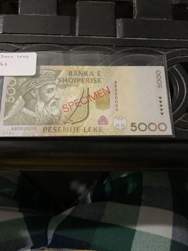 Albania Banknote Specimen Paper Money, 5000 leke 1996, P 66s. UNC