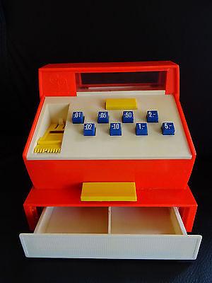 GEOBRA Kaufladenkasse Spielkasse Registrierkasse rot 70er Jahre retro