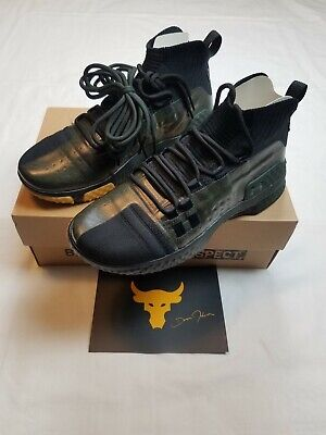 New Men's Under Armour Project  Rock 1 Shoes Size 8.5 Black & Green 3020788-002