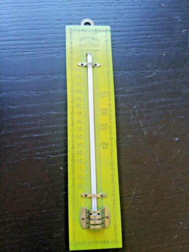 ANTIQUE WOOD WALL THERMOMETER - 8 X 1.5 INCHES - GERMAN MADE - VERY COOL