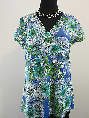 AXCESS Blue Floral Stretchy Nylon Top Sz L Wrap Style Great for Career or Casual