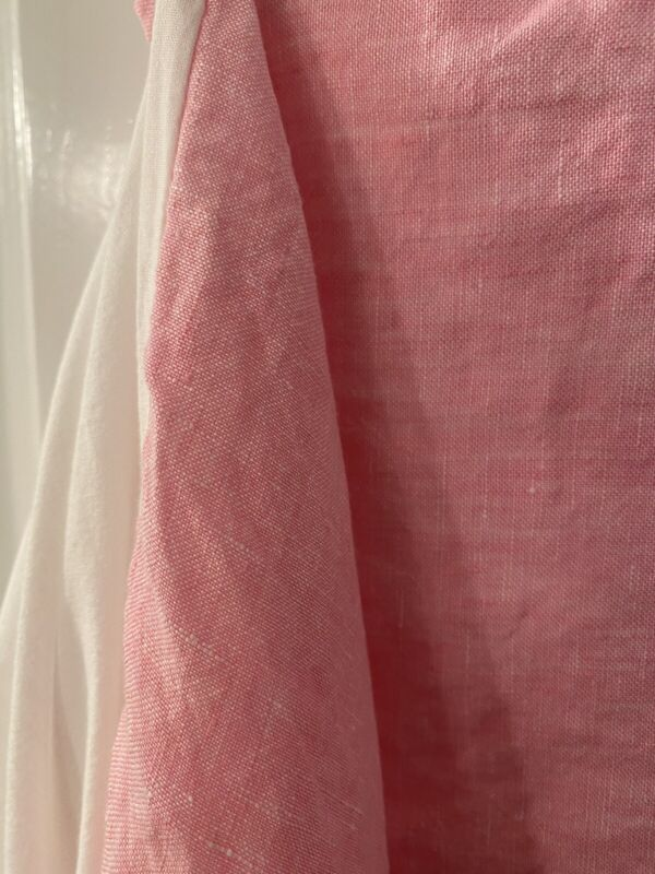 "Pottery Barn Kids Pink Linen Crib Skirt 16"" Drop  EUC"