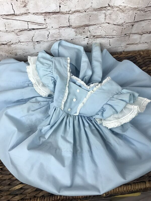 Vintage Baby Girl Toddler Blue Frilly FULL Circle Skirt Apron Pinafore Dress 1-2