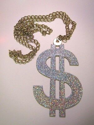Huge Sparkling Glitzy Dollar Sign $ Necklace Costume Pimp Halloween](Dollar Sign Halloween Costume)