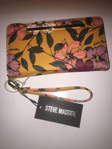 wallet floral mustard zip around organizer wrist