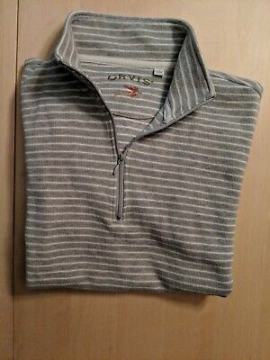 Mens Quarter Zip Striped Sweater - Orvis Mens Quarter Zip Gray & White Striped Sweater Size M 100% Cotton Pullover