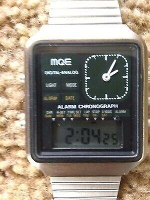 Vintage Lambda MQE Digital Analog Alarm Chronograph NOS Man's Watch Works! Rare