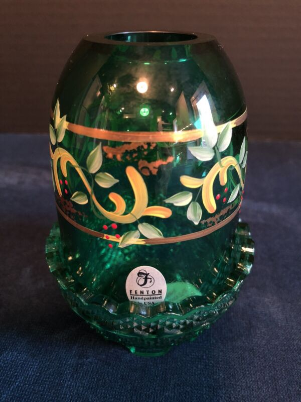 Fenton Emerald Green Fairy Lamp Hand Painted Signed Red and Gold Holly Design