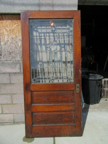 ~ ANTIQUE OAK DOOR WITH BEVELED LEADED GLASS ~ 38 x 83 ~ ARCHITECTURAL SALVAGE ~