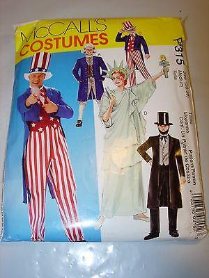 ADULT MCCALLS HALLOWEEN COSTUME Pattern P315 UNCLE SAM STATUE OF LIBERTY M 36 38 - Statue Of Liberty Halloween Costume Pattern