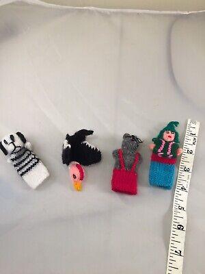 Vintage Handmade Crochet Yarn Animals Lady Finger Puppets Lot Dog Mouse Bird M19 - Crochet Finger Puppets