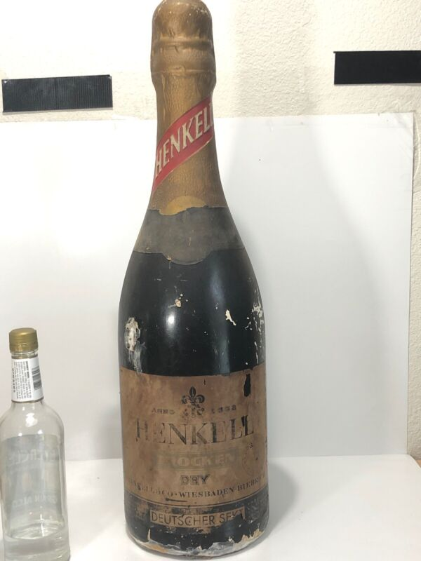 Vintage Henkell Wine Store Display Giant Plaster Wine Bottle. Bar Piece, Mancave