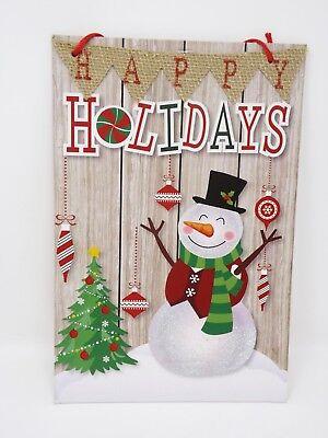 Happy Holidays Snowman w/ Glitter Decorative Holiday Sign - New