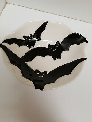 AMERICAN ATELIER at Home Halloween Bat Bowl  5716 Hand Painted EUC - At Home Halloween