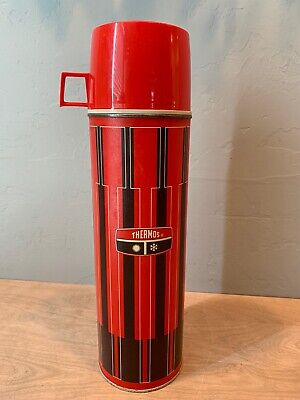 """Vintage Thermos King Seeley Insulated Red/Black Plaid 13"""" Thermos"""