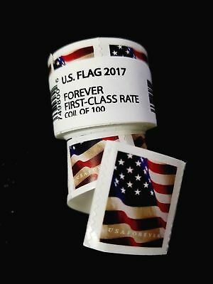 *500 FOREVER STAMPS* 5 rolls of 100 -2017 USPS Forever US Flag Stamp Coil