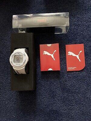 Puma Pulse Plus Unisex Digital Watch With White PU Strap