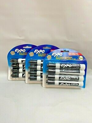 Lot Of 3 Expo Low-odor Dry Erase Markers Chisel Tip Black 4-count
