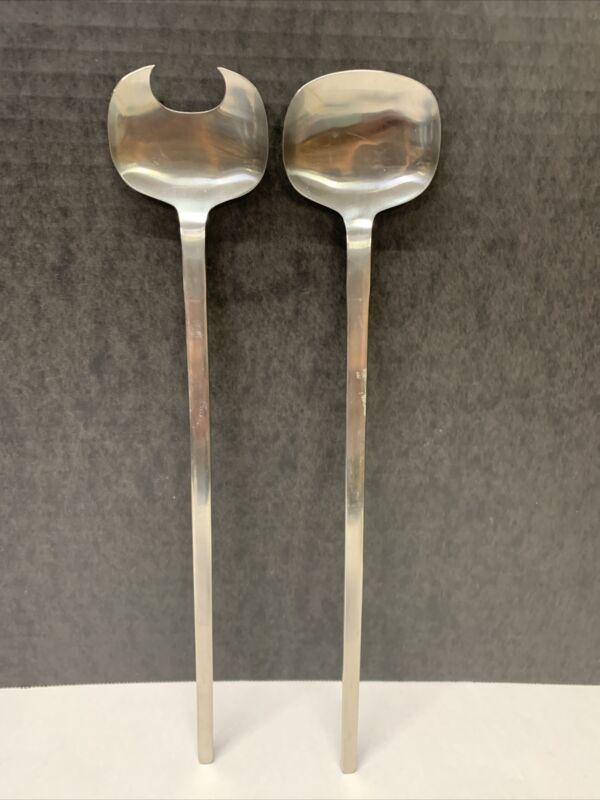 Vintage Selandia Denmark salad serving set spoon stainless steel MCM